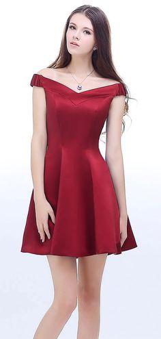 robe cocktail rouge simple épaule dénudé