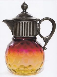New England Glass; Amberina, Syrup, Coin Spot, 6 inch. C. 1885 -1910.