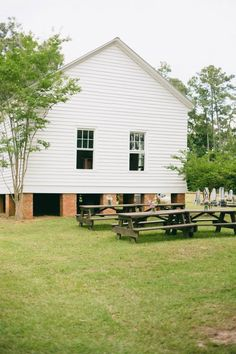 Back of the church, used picnic tables for additional seating