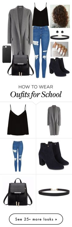 """School outfit 3"" by mollieswale on Polyvore featuring Topshop, CÉLINE, Raey, Monsoon and Humble Chic"