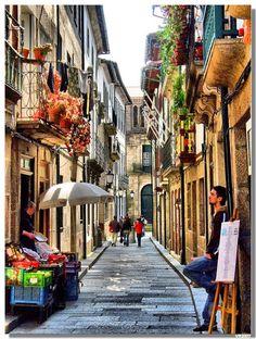 Santa Maria street, Guimarães , Portugal by Vítor Ribeiro