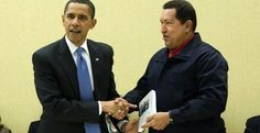 """Chávez gives Obama a great book: """"The open veins of Latin America"""" by E. Galeano."""