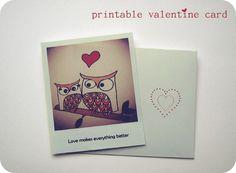 Valentine's day Owl Polaroid card