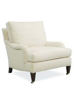 The Savannah leans towards traditional, but tapered legs keep the fanciness in check. Optional tack trim and casters can easily change the look. Made in America 1573 chair by Lee Industries is an updated choice for traditional style. Available in upholstery and slipcovered in your choice of fabric from The Stated Home. Click here to learn more: http://www.thestatedhome.com/american-furniture-lee-industries-savannah-chair-22   Lee Industries 1573-01   Made in USA   American Made