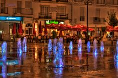 Glowing Fountains On Torrox (Spain) Square