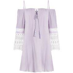 Lavender off The Shoulder Dress ($54) ❤ liked on Polyvore featuring dresses, flared sleeve dress, light purple dress, lavender dress, lace bell sleeve dress and bell sleeve dress