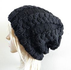 slouchy knit hat in solid black. chunky. warm.
