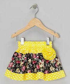 Another great find on #zulily! Yellow Polka Dot Floral Corsage Skirt - Infant, Toddler & Girls by Lele Vintage #zulilyfinds