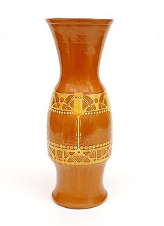 Earthenware vase with sgrafitto decoration in yellow on brown background design execution by W.C.Brouwer Leiderdorp / the Netherlands May 1907