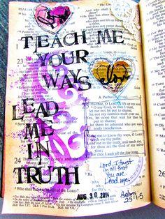 Psalms 25:1-5 journaling art in Bible