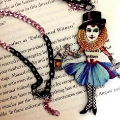 Wooden Dream Noir Vintage style  Circus Woman Charm pendant geeky statement Colorful necklace