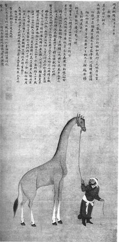 """Tribute giraffe. This Chinese painting from 1414 depicts a giraffe brought as tribute from Bengala (modern-day Somalia). It is described in J.J.L. Duyvendak, 'The True Dates of the Chinese Maritime Expeditions in the Early Fifteenth Century.'"""