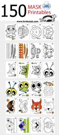 armeggiare il carnevale con maschere per bambini - 150 maschere stampabili: Informations About fasching basteln mit kindern masken Pin You can easily u - Printable Masks, Printables, Diy For Kids, Crafts For Kids, Animal Crafts, Craft Activities, Mask For Kids, Coloring Pages, Preschool
