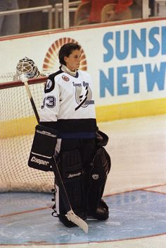 Goaltender Manon Rheaume was just 20 years old when she suited up for one period of an exhibition game for the Tampa Bay Lightning on Sept - A woman can play in this position, in this sport, in this league. Women's Hockey, Hockey Games, Baseball, Hockey Stuff, Jackie Robinson, Daytona 500, Bruins De Boston, Goalie Gear, Goalie Mask