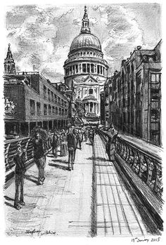 St Pauls from the Millennium Bridge - originals and prints by Stephen Wiltshire MBE Cityscape Drawing, City Drawing, Cityscape Art, Perspective Artists, Perspective Drawing, Landscape Pencil Drawings, Art Drawings Sketches, Stephen Wiltshire, Bridge Drawing