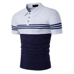 b7688453a7 Business Turndown Collar Casual Striped Printed Golf Shirts. Camiseta ...
