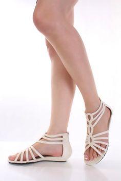 6aa7afc6d563bd Beige Faux Leather Snake Texture Woven Strap Sandals   Amiclubwear Sandals  Shoes online store sale