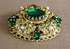 Signed W GERMANY Vintage Green Raised Brooch Pin Rhinestone Faux Pearl Filigree
