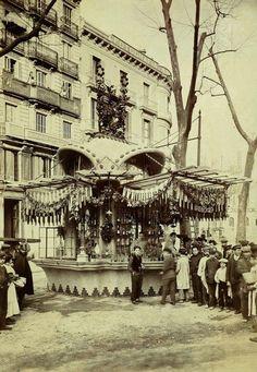 BARCELONA , ANTIGUA...     el 29-2-1908 s'instalá a la rambla canaletas un quiosc modernista obra de Josep Goday..
