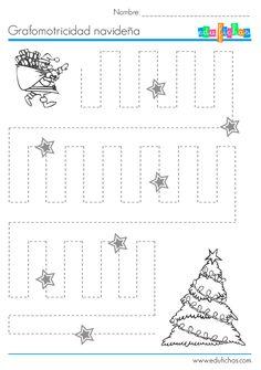 grafomotricidad para navidad Christmas Crafts For Kids To Make, Preschool Christmas, Noel Christmas, Christmas Activities, Tracing Worksheets, Kindergarten Worksheets, Preschool Curriculum, Preschool Activities, Homeschooling