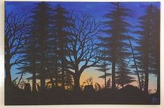 Forest Painting Sunset Art Trees On Large Canvas Detailed Forest Silhouette Coastal Painting Large Original Artwork Canvas Unique Home Decor