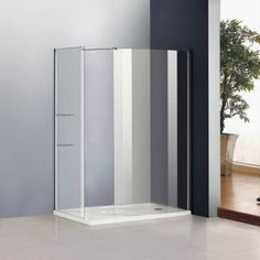 1200 x Walk In Shower Enclosure Cubicle Glass Screen Panel Stone Tray Bathroom Renos, Bath Screens, Shower Enclosure, New Bathroom Ideas, Walk In Shower, Concrete Bathroom, Shower Doors, Curved Glass, Walk In Shower Enclosures