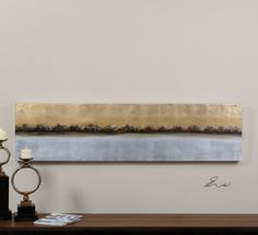 Uttermost Meadow Lights. Frameless, hand painted artwork on canvas that has been stretched and attached to wooden stretching bars.
