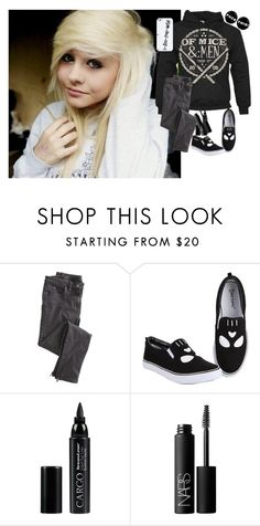 """""""I am crying and slowly dying with every cold tear that falls from my cheek"""" by corruptedcolours ❤ liked on Polyvore featuring Wrap, CARGO, NARS Cosmetics, tumblr, Punk, rock, bands and ofmiceandmen"""