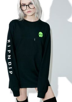 RIPNDIP Lord Alien Long Sleeve Tee what the f*xk you lookin' at, ya lil weirdo?! Carry yer creepy alien buddy around in this sikk long sleeve tee, featurin' a comfy black cotton construction, slouchy fit, banded cuffs, RIPNDIP logo down the arm, and a chest pocket with a lil alien head peekin' out...