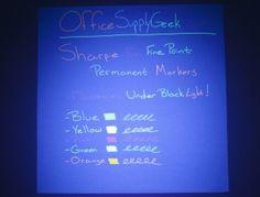 Sharpie Neon Fine Point Permanent Marker Writing Sample in Black Light