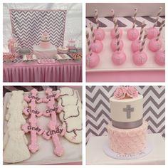 Baptism Dessert table  Cake pops, cookies, Cake, Baby Girl