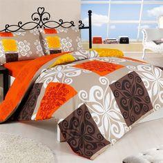 Bavlnené obliečky Sedef oranžová, 140 x 200 cm, 70 x 90 cm