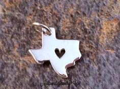 Texas Charm, Texas Heart Charm, Texas Pendant, Texas Stamping Blank, Sterling Silver Texas Charm, Sterling Silver Charm, Tiny, PS0152 by MillpondJewelryCo on Etsy https://www.etsy.com/listing/176260261/texas-charm-texas-heart-charm-texas