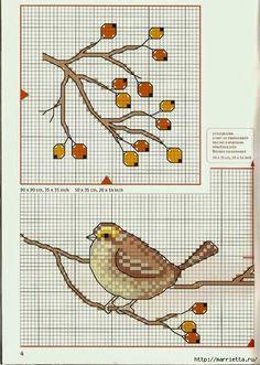 вышивка для скатерти. Птички, белочки, грибочки, листья (43) (498x700, 286Kb)