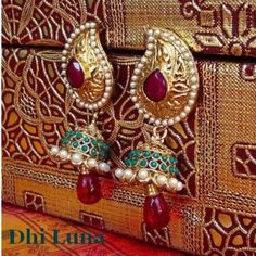 Green, mbrown big jumkha  - Online Shopping for Earrings by Dhi Luna Jewellery
