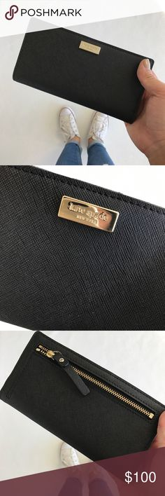 Black kate spade Wallet Cute black wallet for the day AND a night out! Approx dimensions: 6.75in x 3.5in MALE ME AN OFFER kate spade Bags Wallets