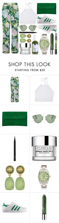 """""""Can I Get A Green Tea Smoothie?"""" by lizsatterfieldmakeup ❤ liked on Polyvore featuring Dolce&Gabbana, Front Row Shop, L.K.Bennett, Christian Dior, MAC Cosmetics, Clinique, Tory Burch, adidas and Maybelline"""