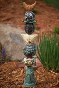 ceramic garden totem