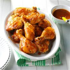 Slow Cooker BBQ Chicken - uses chicken legs, ketchup,  orange juice,  red wine vinegar,  worchestershire sauce.  5-6 hours.