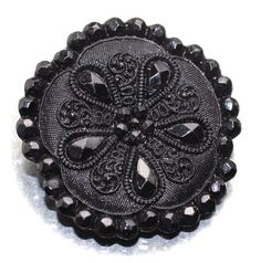 Button / Glass Black / Lacy Type Pictorial - Large by HoppeEtc on Etsy