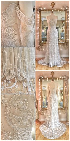 Moon and Stars embroidered wedding dress in beaded tulle - Moon and stars embroidered tulle inspired wedding dress by Joanne Fleming Design Source by - Starry Night Wedding, Moon Wedding, Celestial Wedding, Star Wedding, Lake Theme Wedding, Wedding Disney, Disney Weddings, Fairytale Weddings, Themed Weddings
