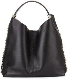 Rebecca Minkoff Stud-Trim Leather Hobo Bag, Black/Light Gold