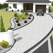 Resultado de imagen para kostka brukowa nowoczesne aranżacje Interior Design Classes, Paving Design, Garden Planning, Cool Gadgets, Floor Plans, Layout, Patio, Lights, Building