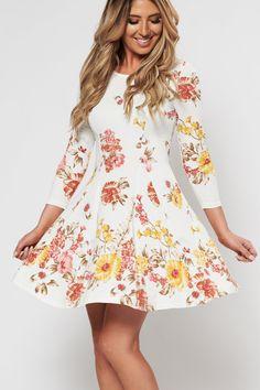 d98bb25e282 Let s Bloom Floral Lace Up Back Dress (Off White)