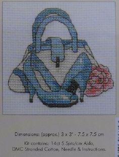 0 point de croix chaussure et sac bleus - cross stitch blue shoes and bag