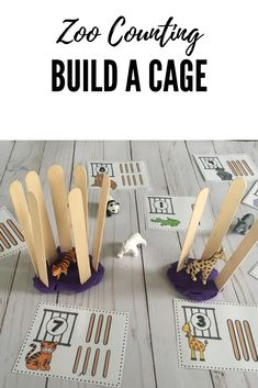 Preschool math with a zoo theme! Count and build an animal cage with popsicle sticks! animals Zoo Math and Literacy Centers for Preschool, PreK, and Kinder Zoo Activities Preschool, Zoo Animal Activities, Preschool Centers, Preschool Lesson Plans, Preschool Classroom, In Kindergarten, Literacy Centers, Math Literacy, Numeracy
