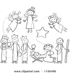 Clipart Black And White Stick Drawings Of Nativity Scene People - Royalty Free Vector Illustration by C Charley-Franzwa Christmas Nativity, Christmas Art, Christmas Projects, Christmas Clipart, Simple Christmas, Christmas Lights, Xmas, Christmas Doodles, Christmas Drawing