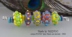 Hip Hop  bubble dot beads  Lampwork set of 5 beads by michoudesign