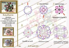 KACHIRA Beaded Ring - FREE Pattern by Mu. Use: 20 faceted beads 4mm + for the ring band, 24 bicone beads 4mm OR 4 bicones and 4 navettes 10mm, 20 bicone OR round beads 3mm, 4 bicone OR faceted beads 6mm, seed beads 15/0, beading thread 0,25mm
