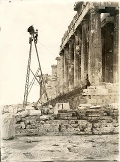 Franco-Swiss photographer Fred Boissonnas on Acropolis, Athens. Athens Acropolis, Athens Greece, Classical Greece, Old Egypt, Frederic, Greek Art, Great Photographers, Historical Pictures, Ancient Greece